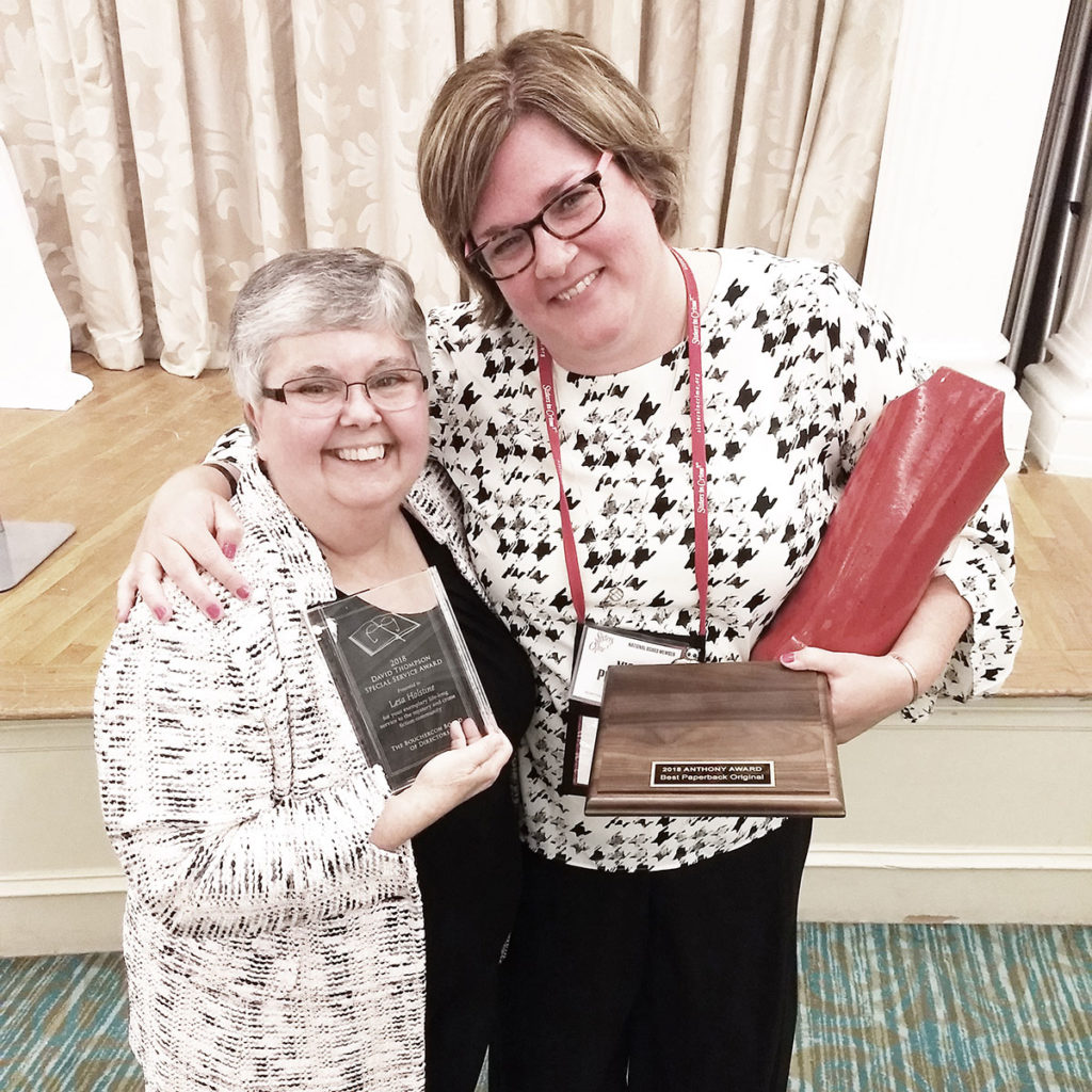 At the Anthony Awards ceremony, the wonderful Lesa Holstine was given the David Thompson Memorial Special Service Award. And Lori Rader-Day won the Anthony for Best Paperback Original.