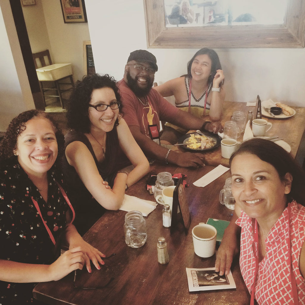 Crime Writers of Color breakfast with old friends and new. L-R Elizabeth Mahon, me, Shawn Cosby, Vera Chan, Sujata Massey, and Naomi Hirahara (who's taking the photo).