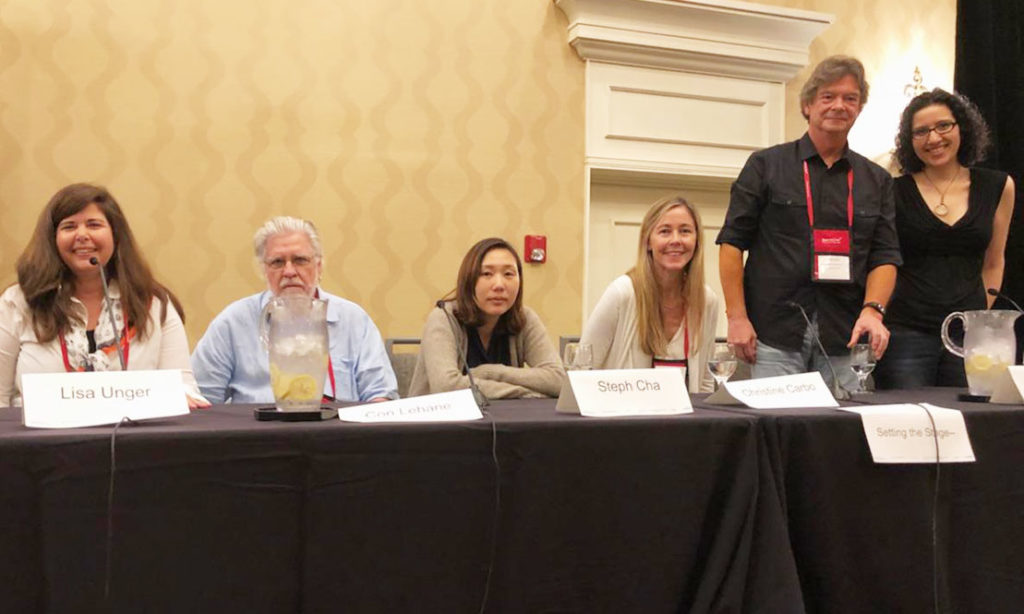 Setting the Stage panel with Lisa Unger, Con Lehane, Steph Cha, Christine Carbo, and James Anderson. I moderated this great group. They made my job easy.