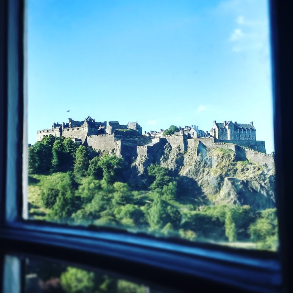 The inspiring view from my writing nook: Edinburgh Castle, which sits high atop a volcanic rock in the center of the city.