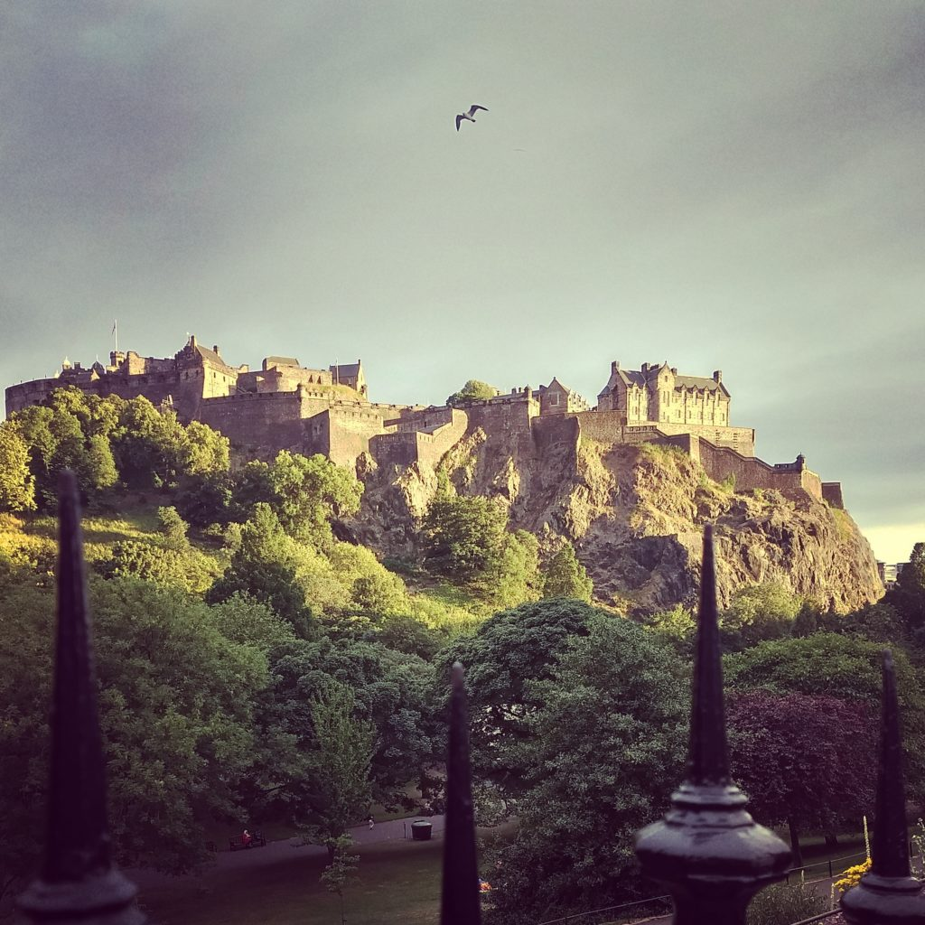 The dramatic sky over Edinburgh Castle.