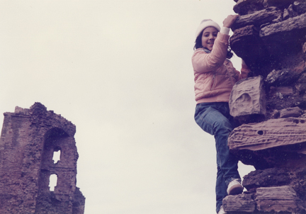 Gigi as a kid exploring Scotland on one of her anthropologist mom's research trips.