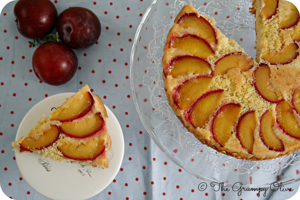 Upside Down Plum Cake with White Chocolate