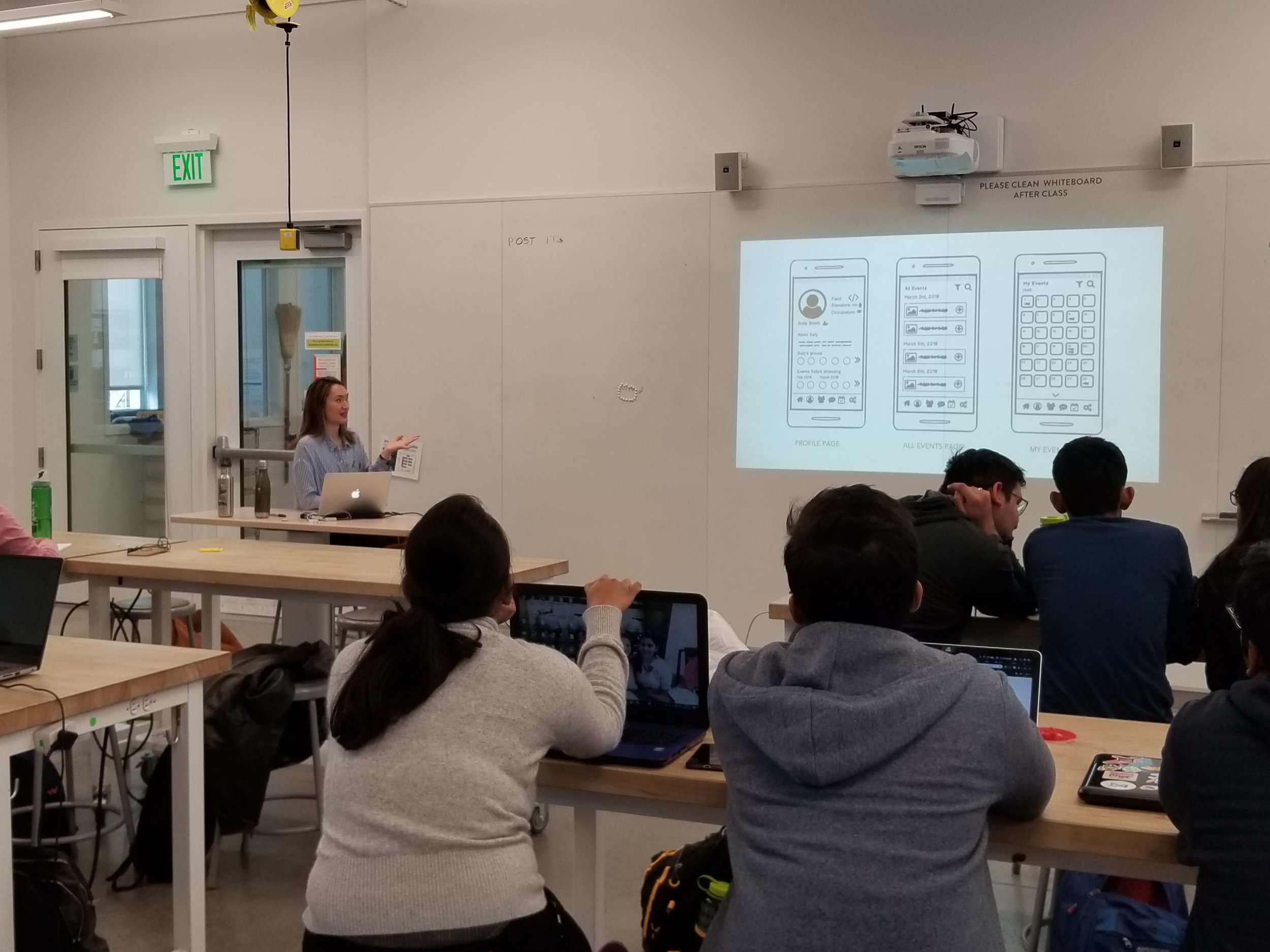 Spring 2019 Design Innovation 198 - I'm pictured teaching the class about UX research and design.