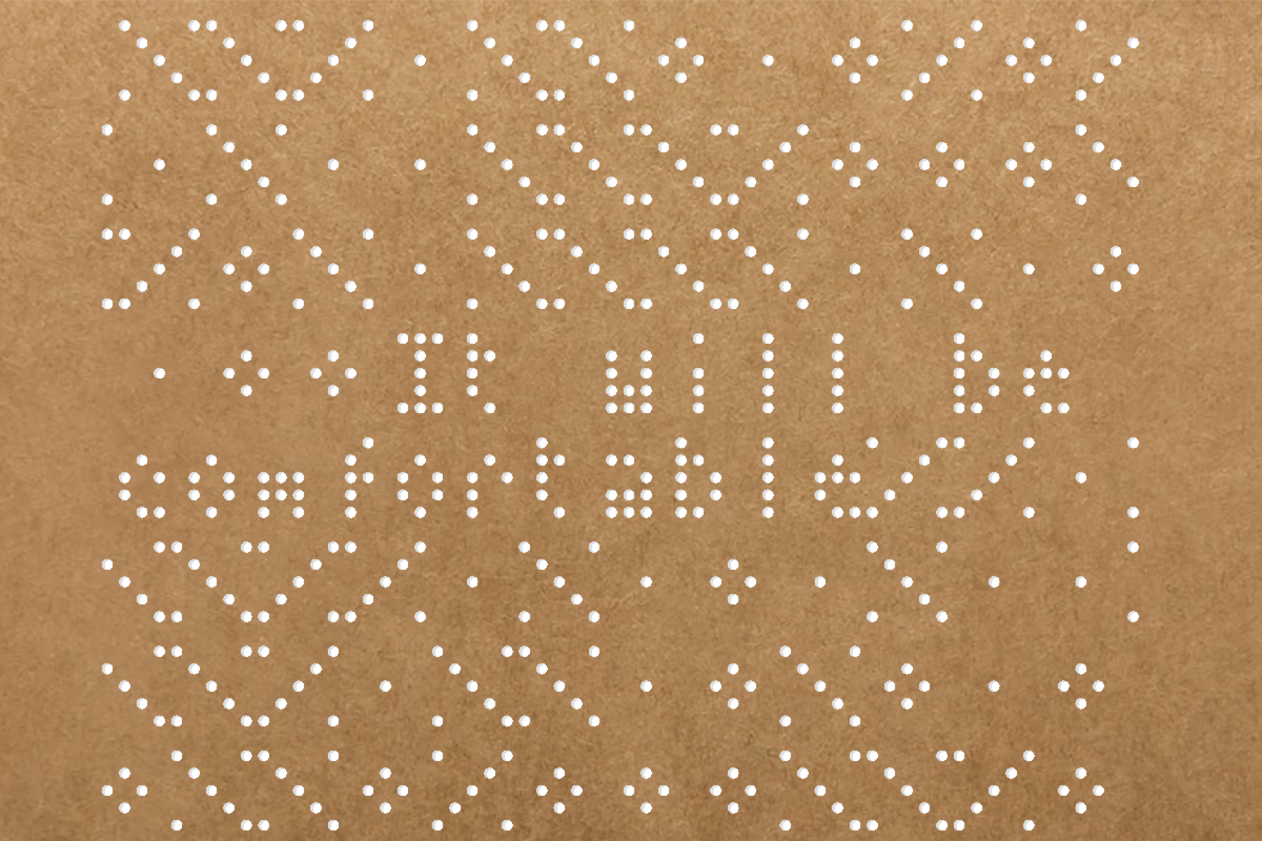 Jacquard Loom-inspired punch card graphic representing genomic data and CRISPR sites.