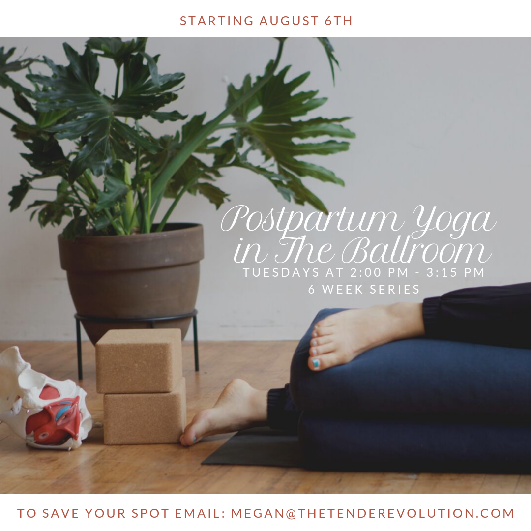 - The class will offer space to explore your postpartum body, reengage with the pelvic floor and core, build up strength and stretch the areas that are tired from care-taking, ask questions, get resources, hang with other people who just had babies, as well as time for rest. You are most welcome to bring your sweet babes, or you can come solo. Whatever is best for you.✨Tuesday✨2 - 3:15 PM75 minute class6 sessions: Aug 6th, Aug 13th, Aug 20th, Sep 3rd, Sep 10th, Sep 17th✨$72 for the series✨