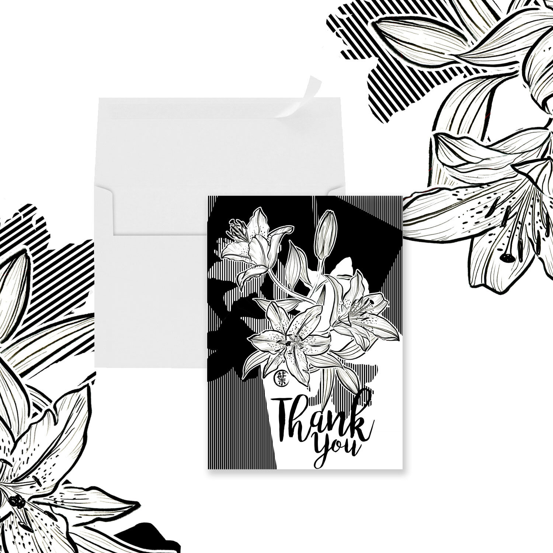 Botanical Watercolor Floral Greeting Card | Lilium Stargazer