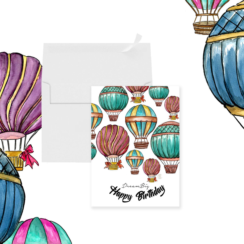 Watercolor Greeting Card | Hot Air Balloon