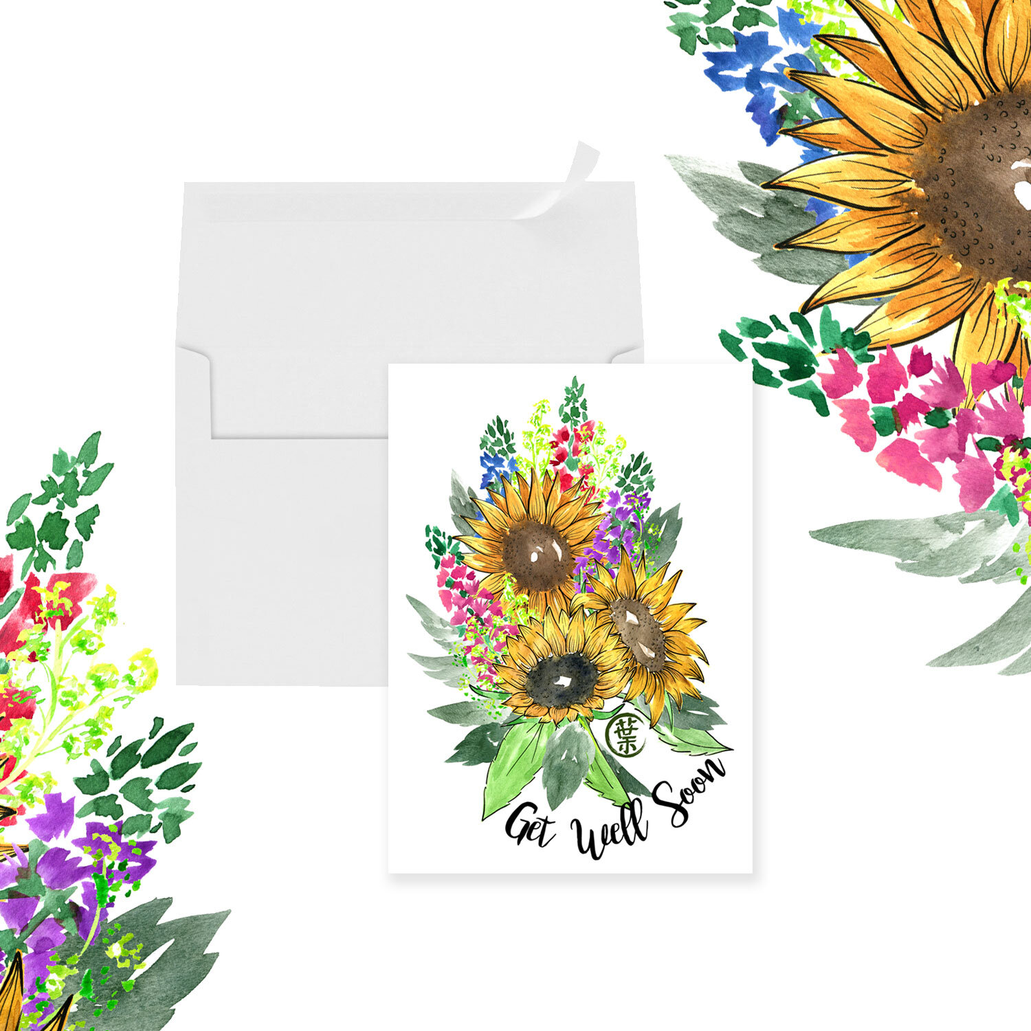 Watercolor Flower Painting Greeting Card | Sunflower