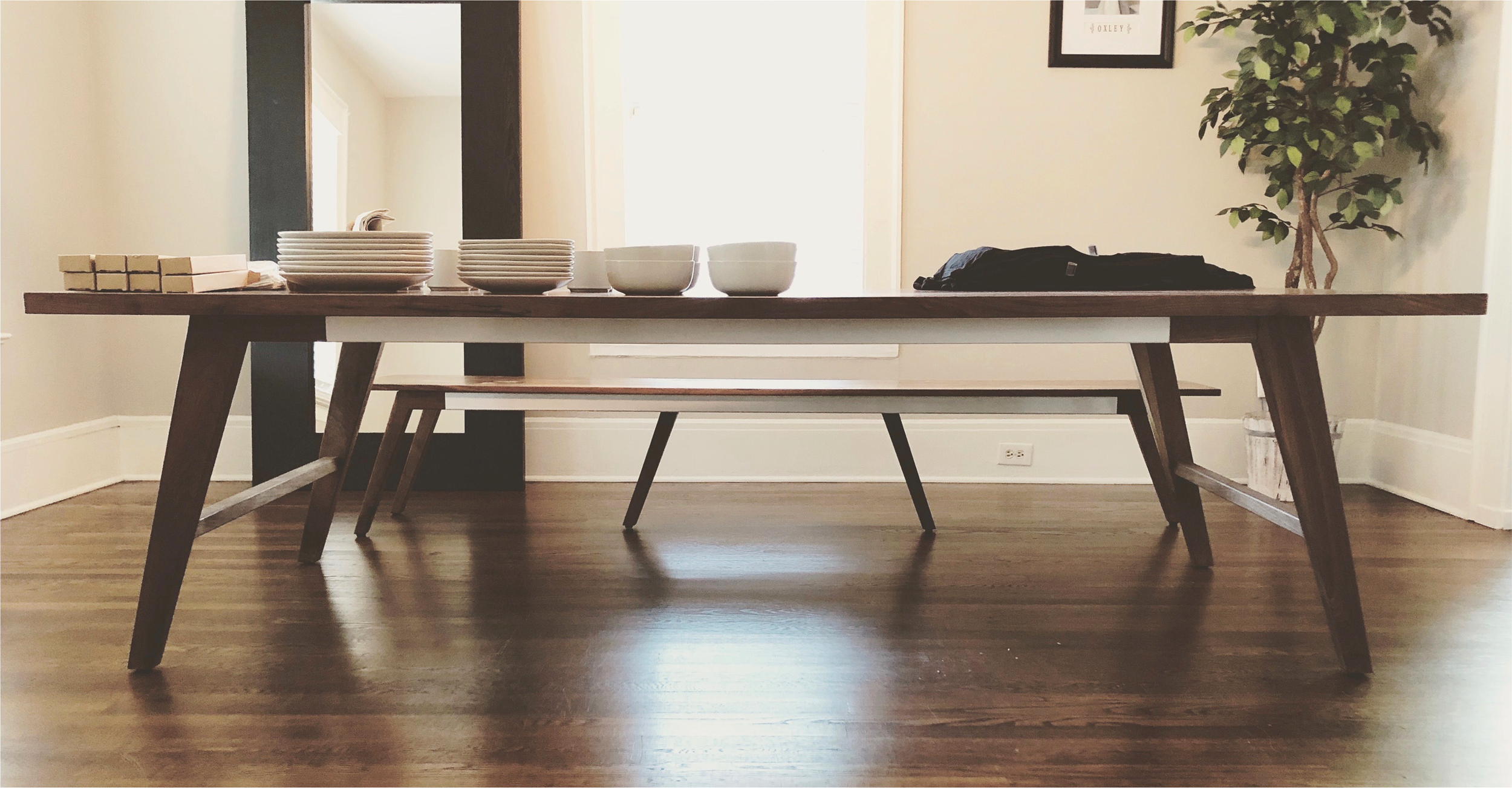 Vector Set - Table, Bench // Walnut, Steel, Oil/Wax finish // Custom Inlays