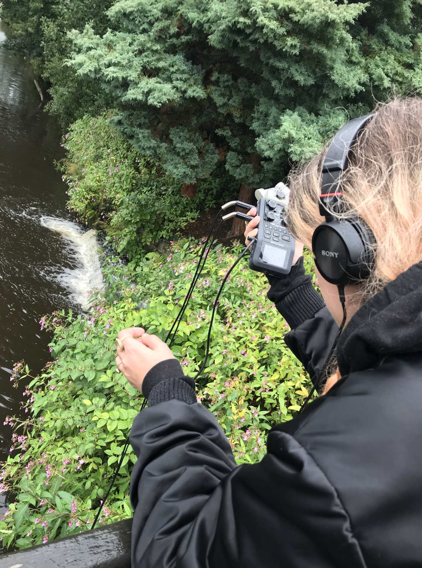 Recording with a hydrophone (Photo by Liz Dobson)