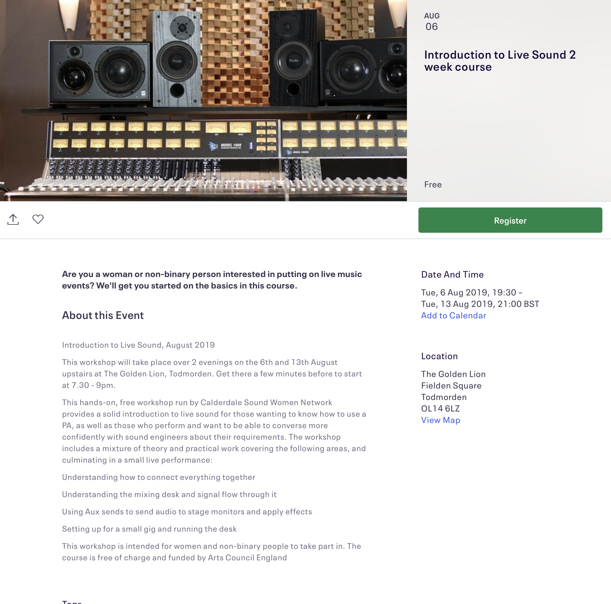 Introduction to Live Sound workshops, August 2019