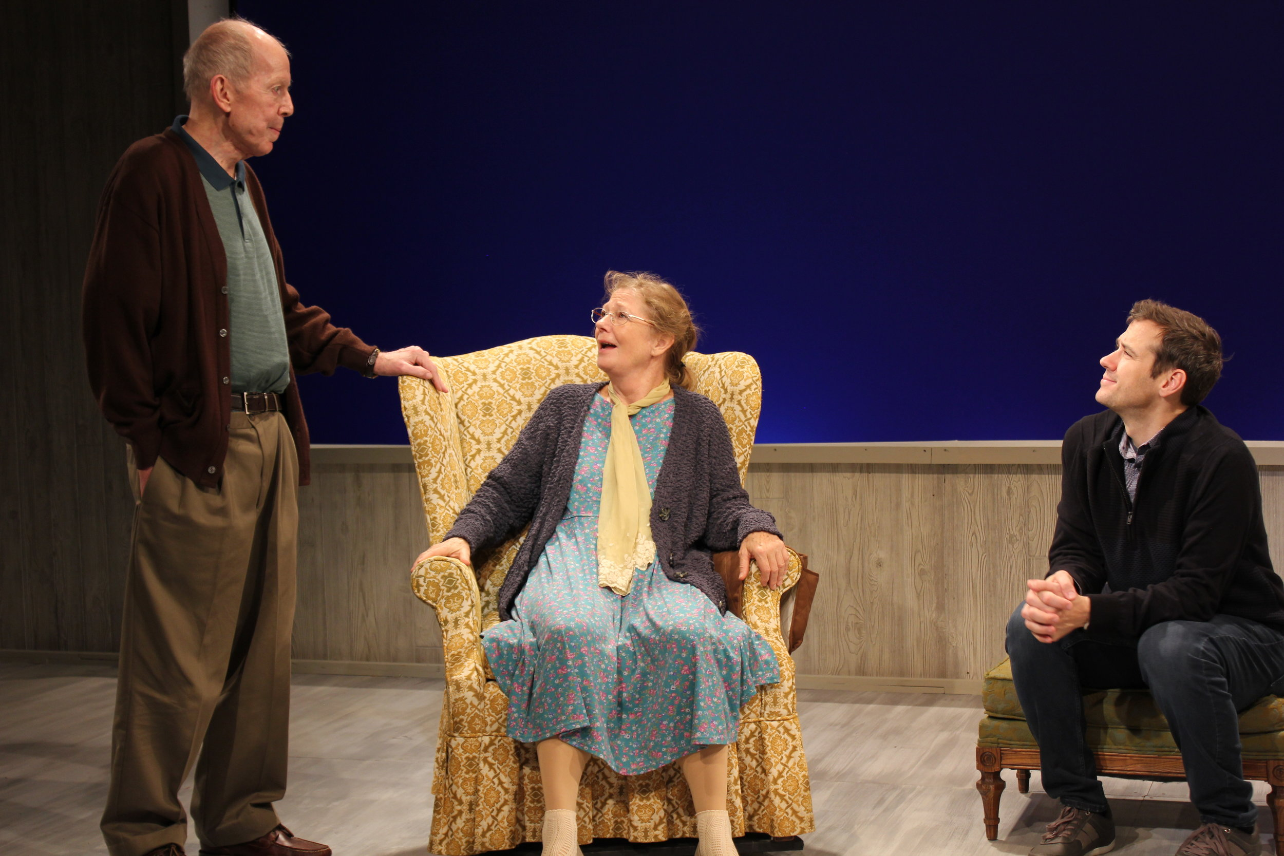 Pictured: Jonathan Hogan, Deborah Hedwall, and Richard Gallagher.  Photo: Skylight Productions Theater.
