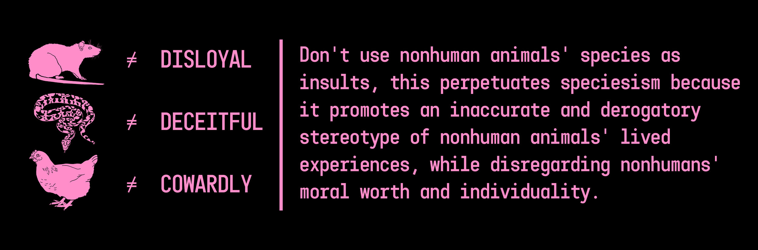 """Rat doesn't equal disloyal. Snake doesn't equal deceitful. Chicken doesn't equal cowardly. Pink text on black. """"Don't use nonhuman animals' species as insults, this perpetuates species because it promotes an inaccurate and derogatory stereotype of nonhuman animals' lived experiences, while disregarding nonhumans' moral worth and individuality."""""""