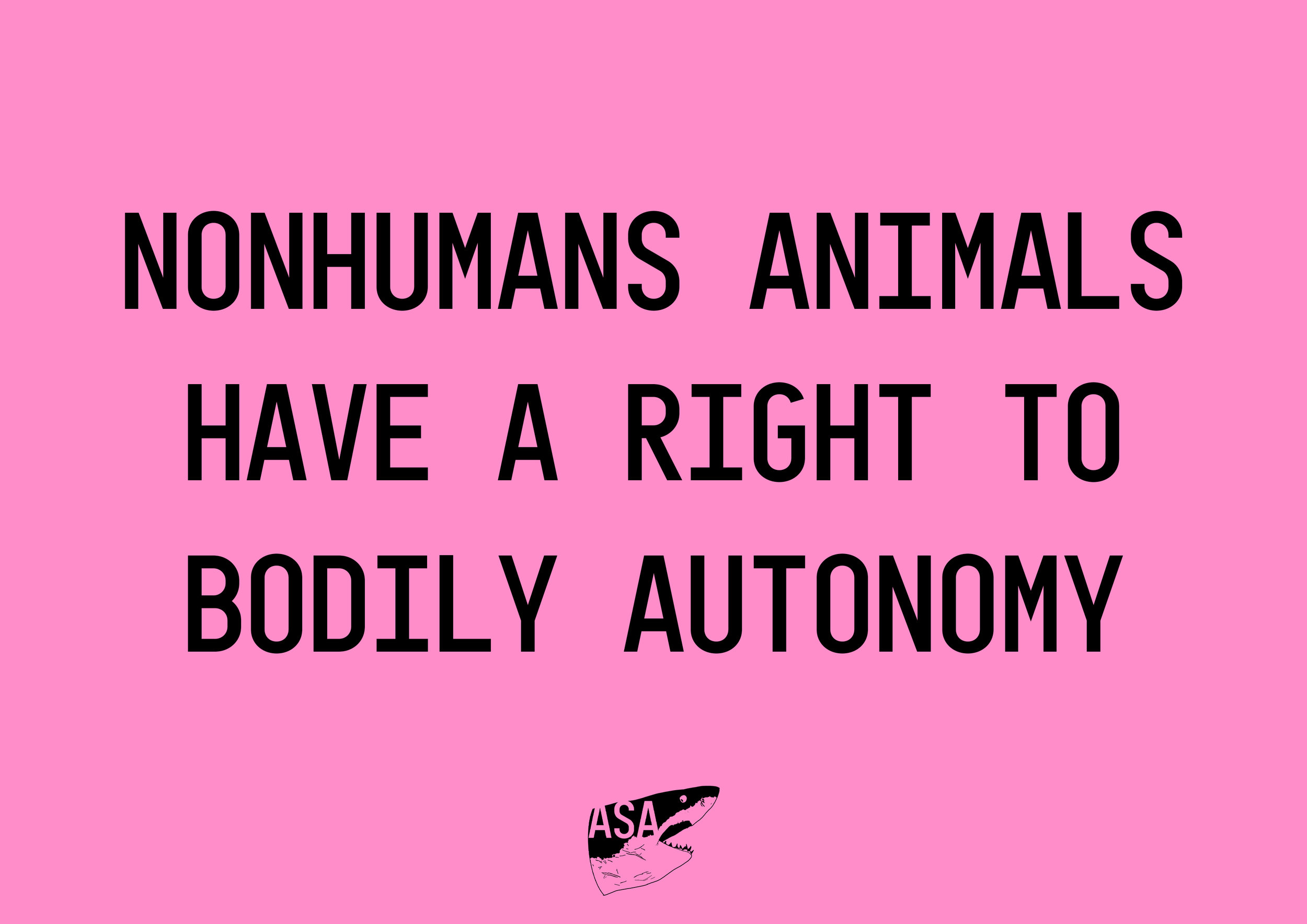 """""""nonhumans have a right to bodily autonomy"""" in black text with our shark ASA logo beneath on a pink background"""