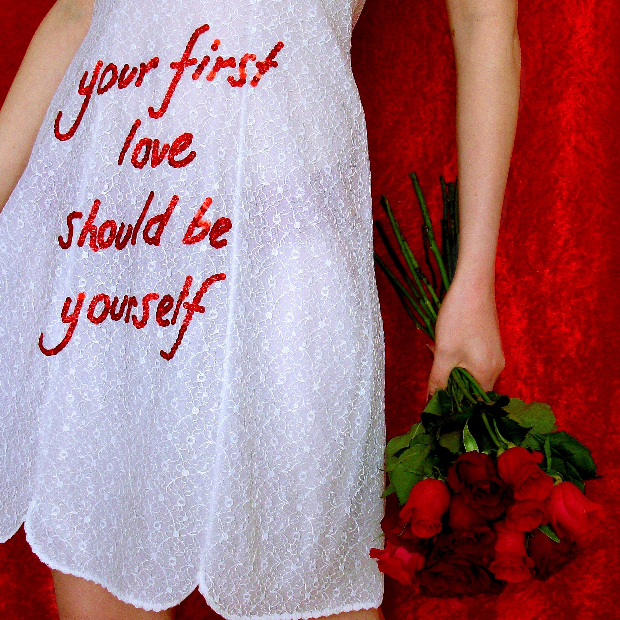 "embroidered ""your first love should be yourself"" wedding dress, 2015, Sophie King"