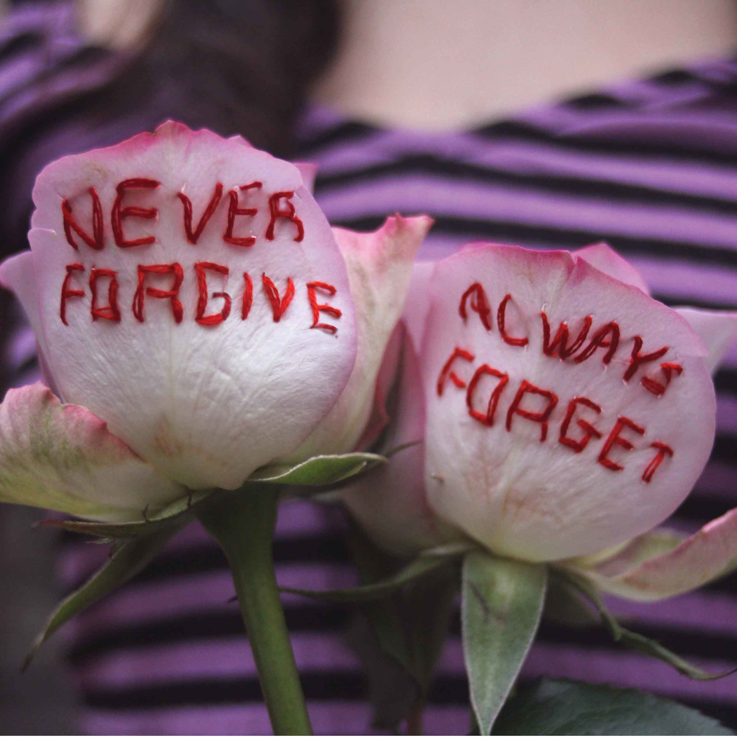 "embroidered ""never forgive, always forget"" real roses, 2018, Sophie King"