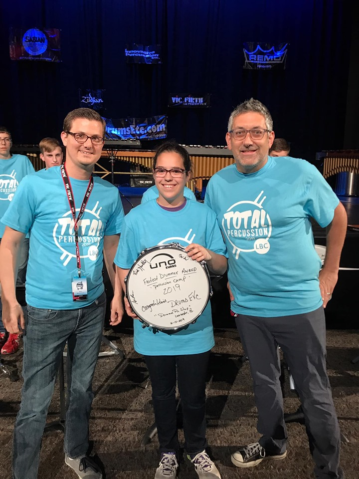 "Rick's student, Emily, awarded ""Fastest Hands"" at Lancaster Bible College's Total Percussion seminar."