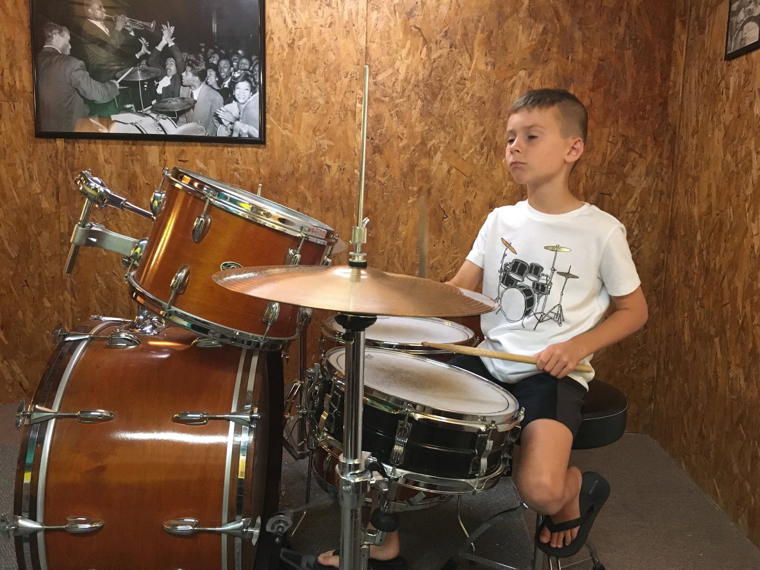One of Rick's students Judah rocking out in Rick's home studio