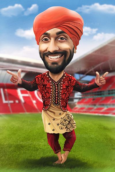 Soccer caricature: dancing at Liverpool stadium