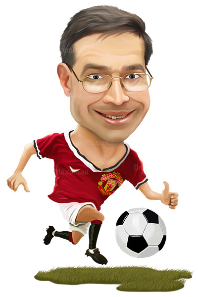 Any team and any colours for your soccer caricature