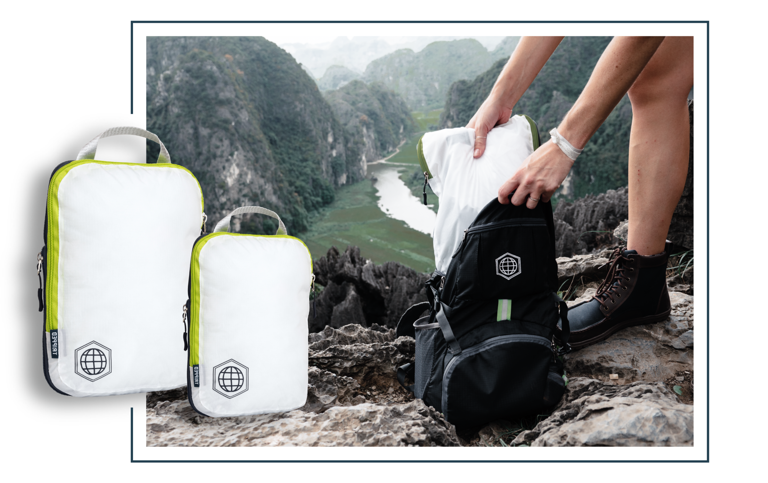 Compression packing cubes used in travel backpack with mountain background.