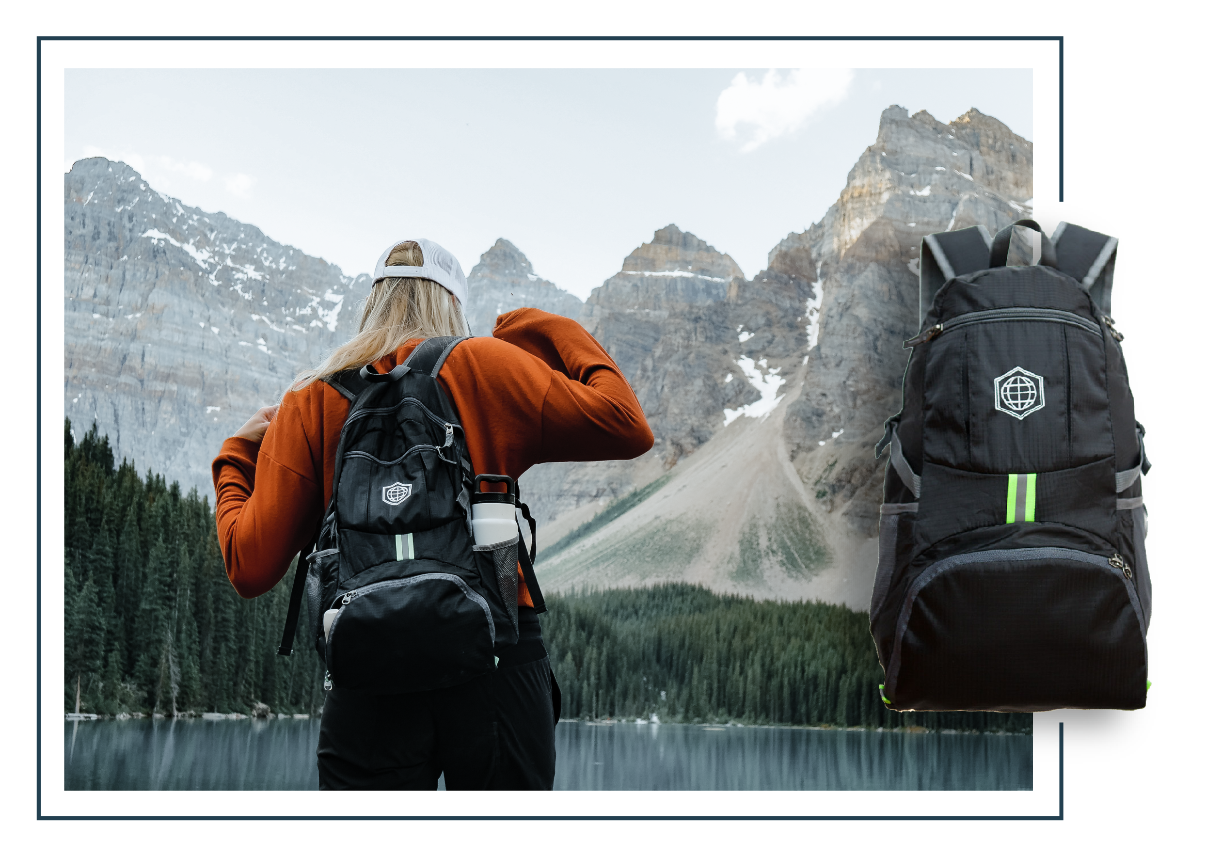 Travel daypack used by a woman with mountains in the background.