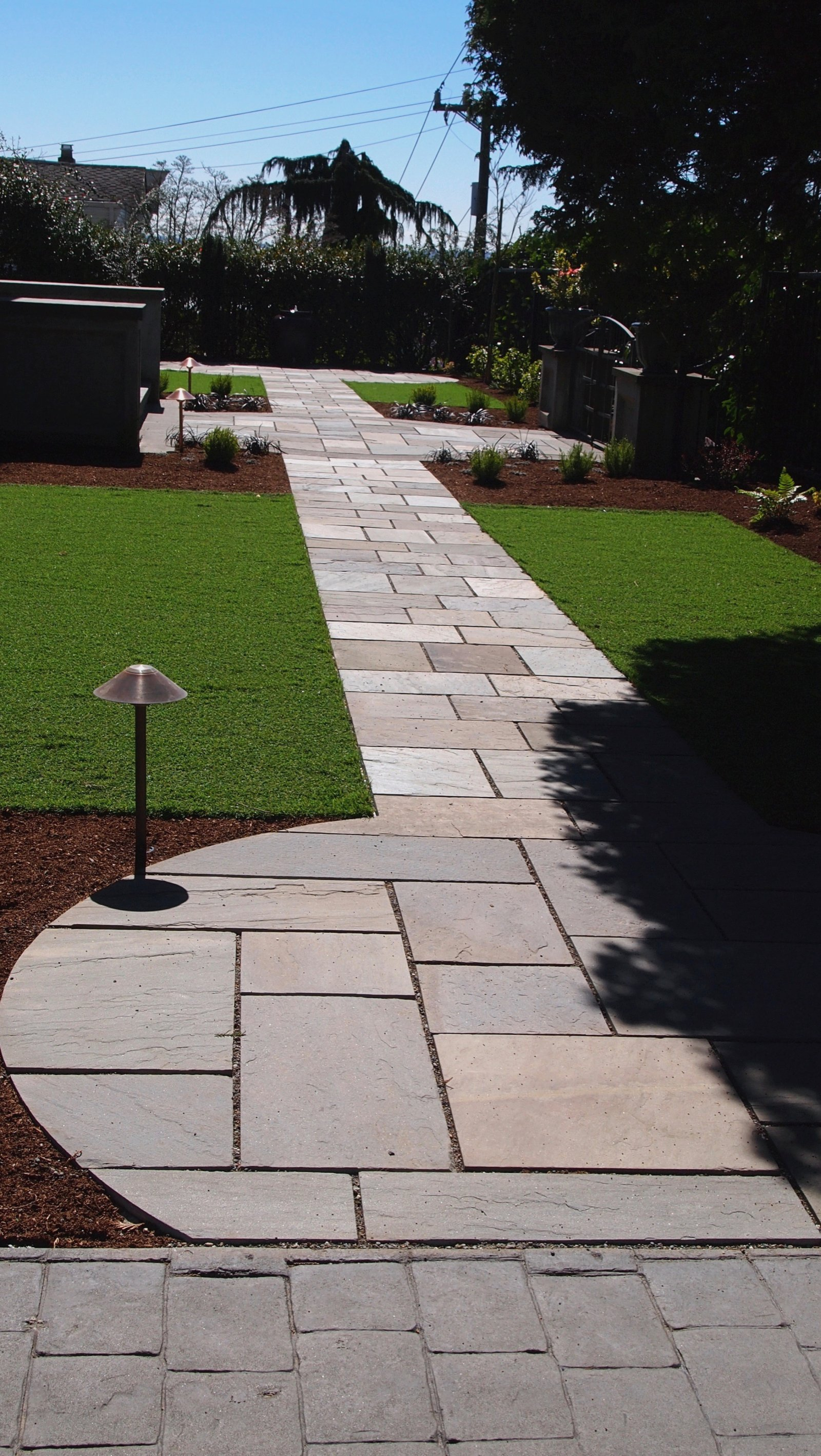 BLUESTONE PATHWAYS AND SYNTHETIC TURF FOR KIDS AND DOGS