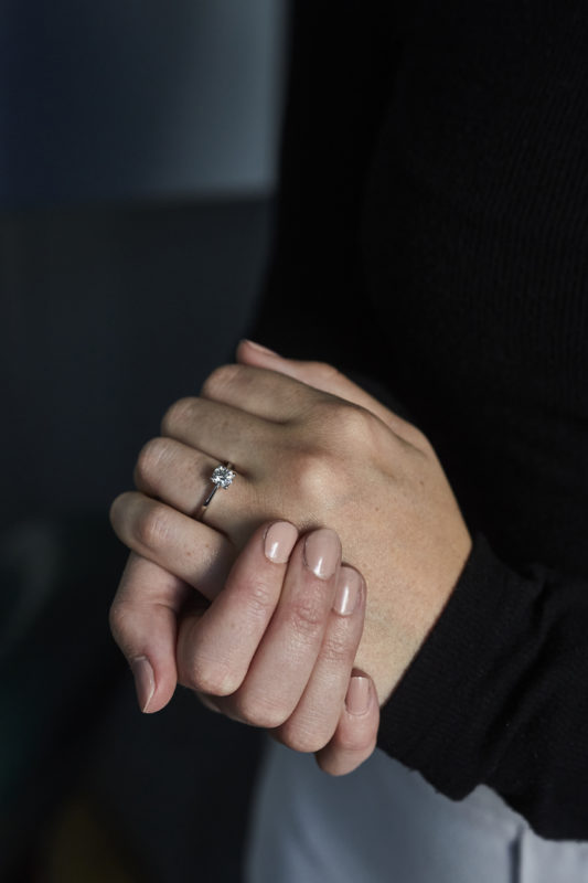 Lady's hands with engagement ring