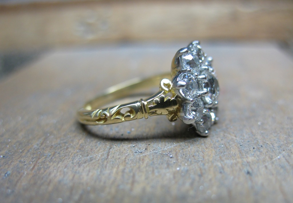 Vintage reproduction diamond ring side Simon Wright