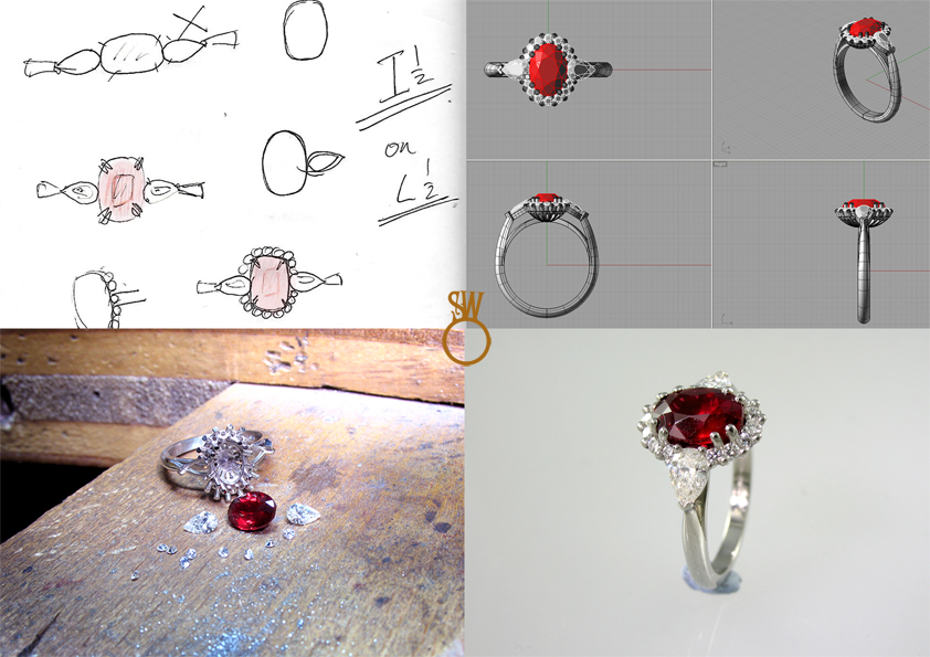 From pencil sketch to finished diamond and ruby cluster ring