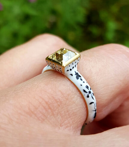 vintage reproduction ring on finger