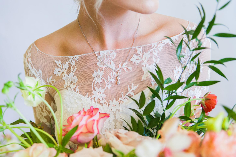 Bride with diamond pendant necklace