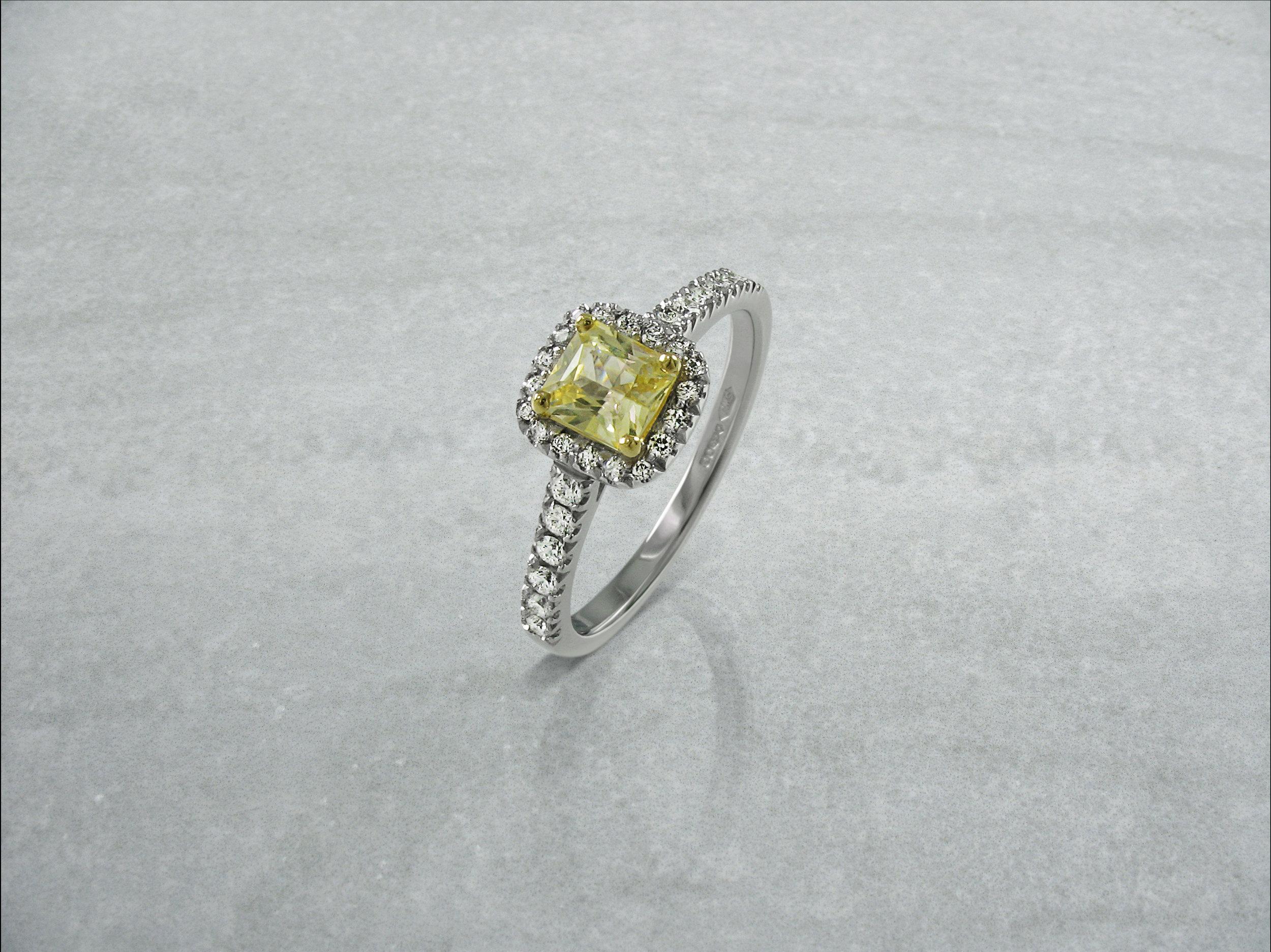 radiant cut yellow diamond halo engagement ring with diamond band 2.jpg