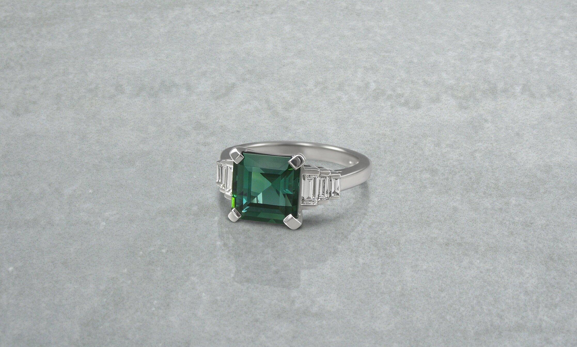Art deco style tourmaline and diamond engagement ring