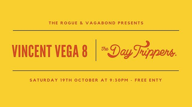Playing the music of Tarantino with the Vincent Vega 8 this Saturday - come through! ✖️ #vincentvega #thedaytrippers #tarantino #wellington #rogueandvagabond