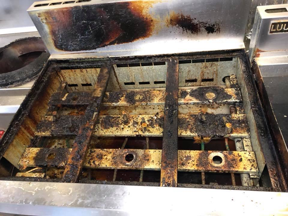 6 Burner Commercial Stove Before Heavy Duty Clean