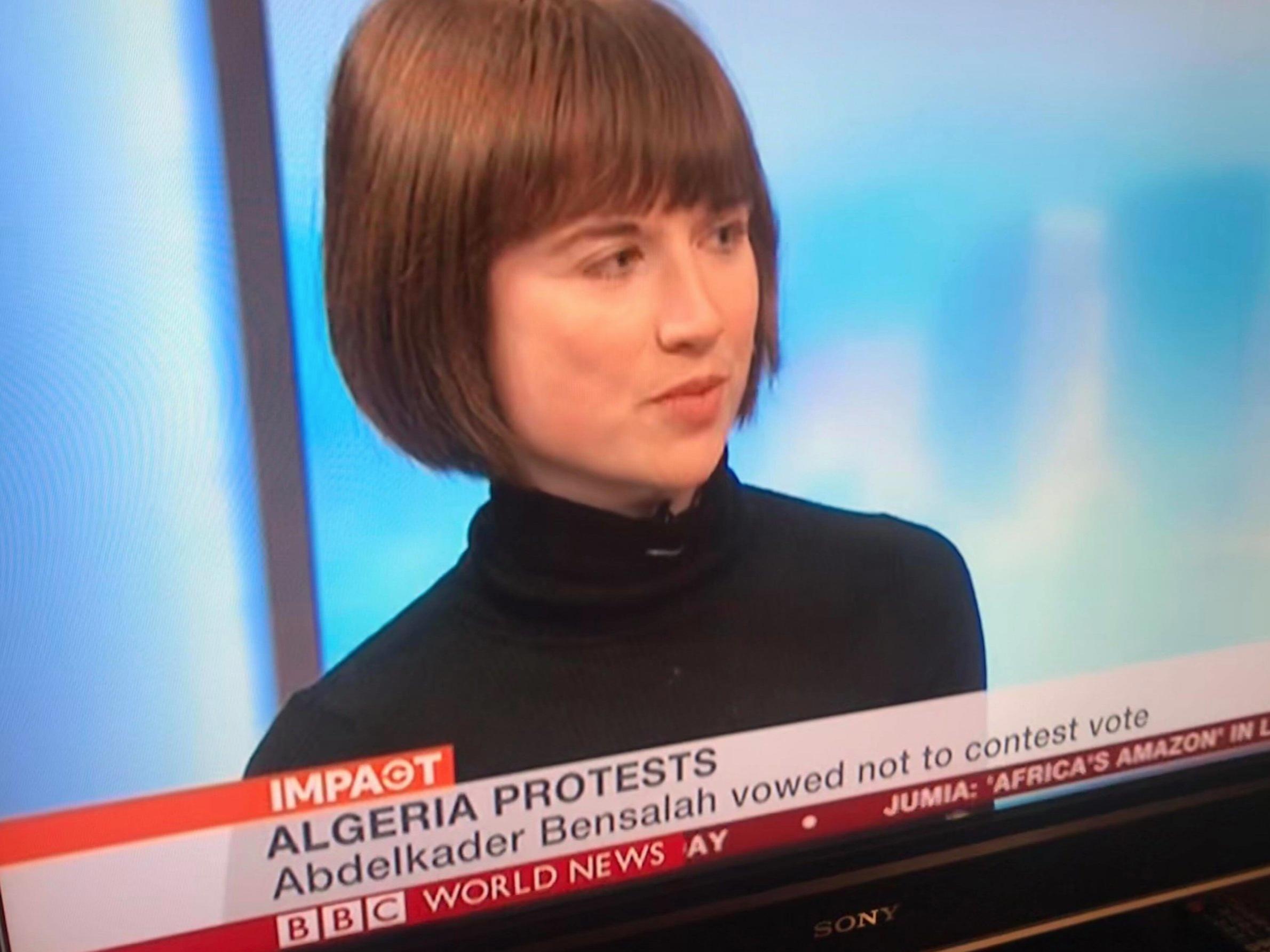 BBC World news Studio interview on Protests in Algeria - 12 April 2019