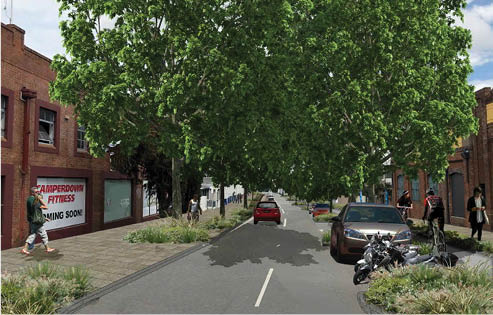Artist's impression of proposed Pyrmont Bridge Road streetscape looking towards Parramatta Road from the intersection of Mallett St / Pyrmont Bridge Road /Booth St.  Image courtesy of the  Inner West Council Streetscape Master Plan .
