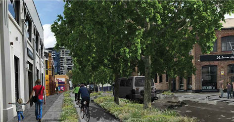 Artist's impression of proposed Pyrmont Bridge Road streetscape looking towards Mallett St. Trio Apartments in the distance, James Squire heritage brewery to right.  Image courtesy of the  Inner West Council Streetscape Master Plan .