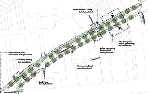Artist's impression of proposed Pyrmont Bridge Road alignment. See Master Plan for high resolution version. Image courtesy of the  Inner West Council Streetscape Master Plan .
