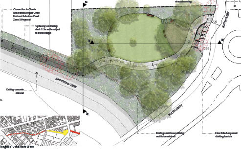 Artist's impression of proposed Shared Path along Johnstons Creek, at Badu Park.  Image courtesy of the  Inner West Council Streetscape Master Plan .