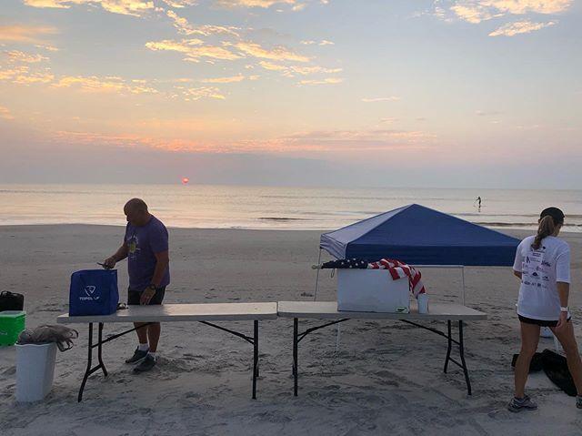 Set up at sunrise 🎉 Amazing turnout this morning!