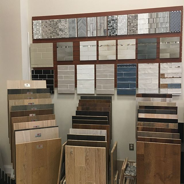 When you have no more room on the floor....you build up! Come stop by our showroom to see some of our brand new hardwood and tile selections! #hardwoodfloors #tilefloor #mosaictile #springcleaning #springishere #newproducts #showroomdesign #showroom