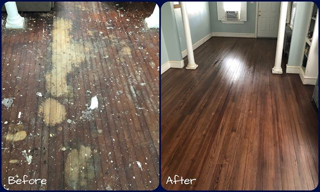 Check out these before and after pictures from a renovation in Cape May Court House! Our experts sanded and refinished the beautiful yellow pine wood so it can be enjoyed for many more years #hardwoodfloors #hardwood #renovation #sandandrefinishhardwoodfloors  #sandandrefinish #southjersey #southjerseyhardwood