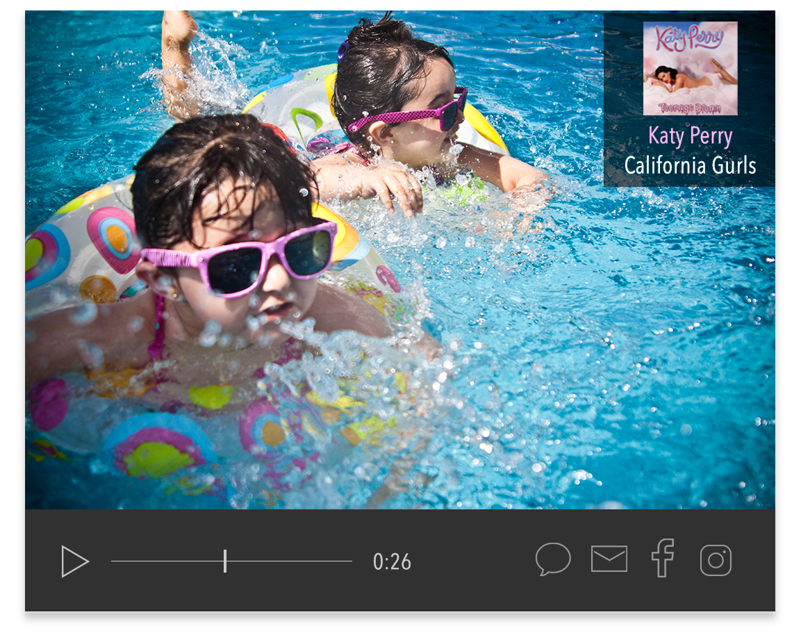 Songclips can serve as the soundtracks for galleries and video slideshows.