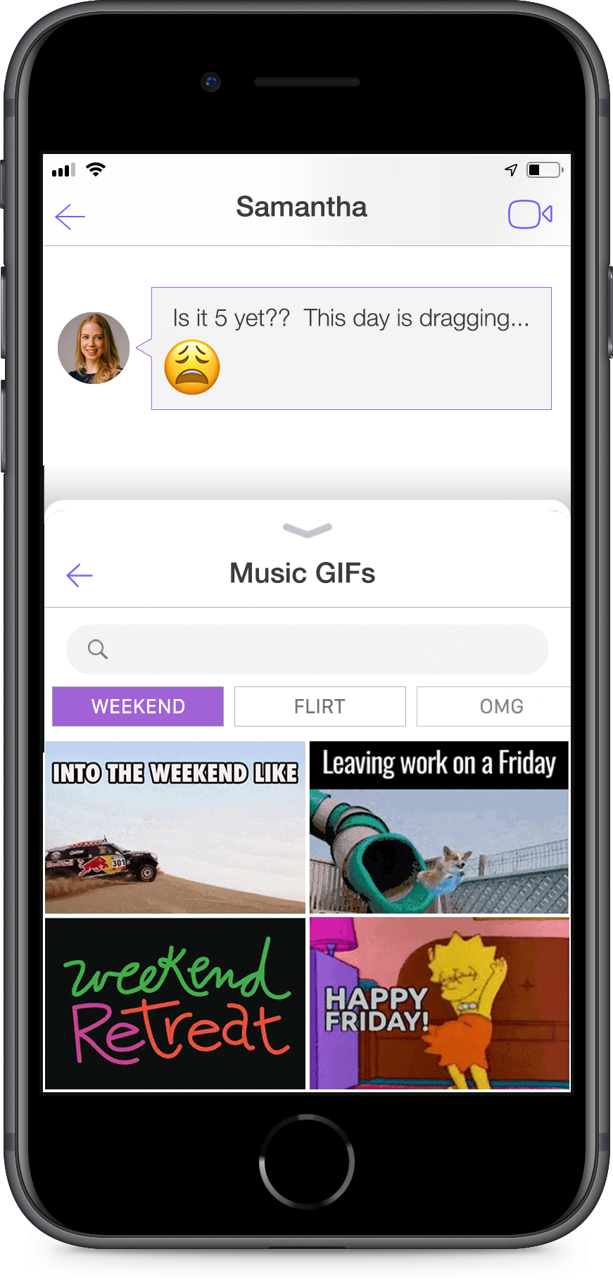 Songclip + GIF tray open in messaging chat