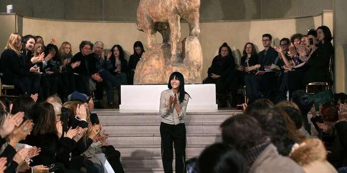 Bouchra Jarrar, en janvier 2012, à l'issue de la présentation de sa collection printemps-été 2012. AFP/PIERRE VERDY
