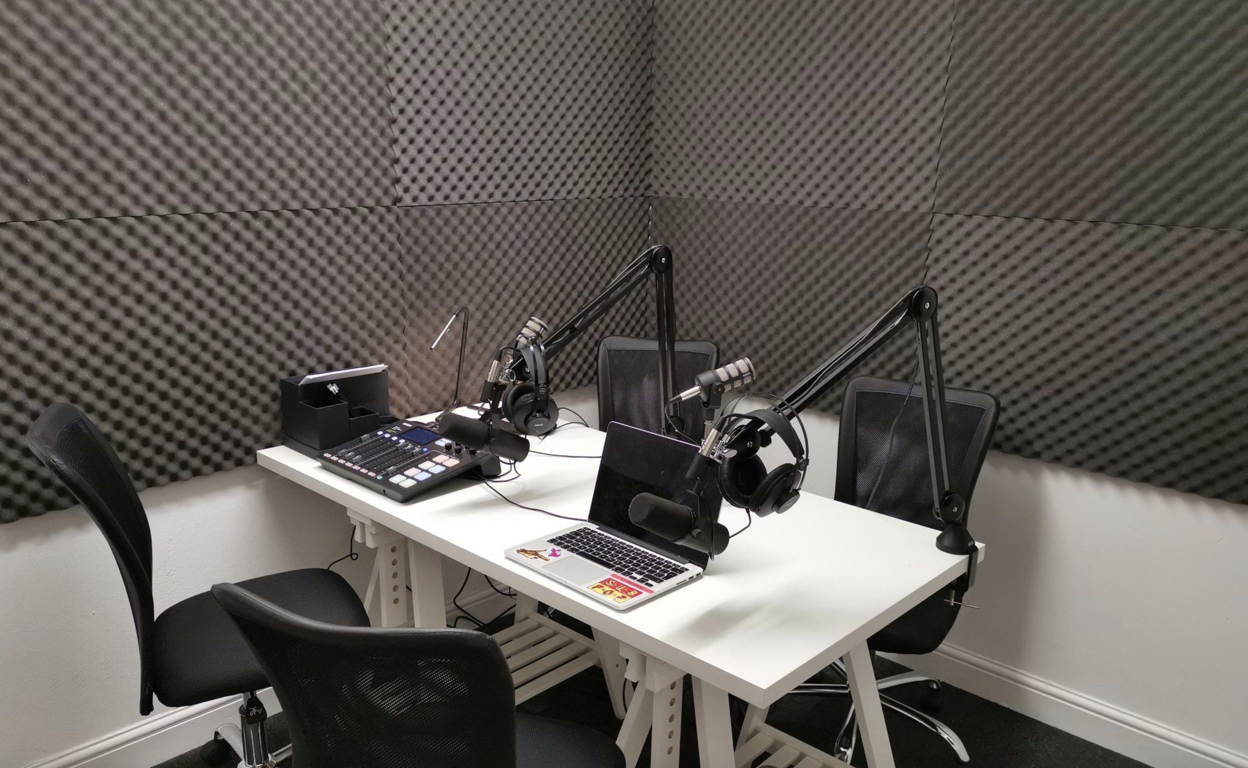 Podcast Ready Studios available for rent - Plug and record podcast studios equipped with top quality gear and scaling complexity for everyone from the earliest of novice to seasoned pros to record their project in the best environment possible for just £30 p/hLearn more ➝