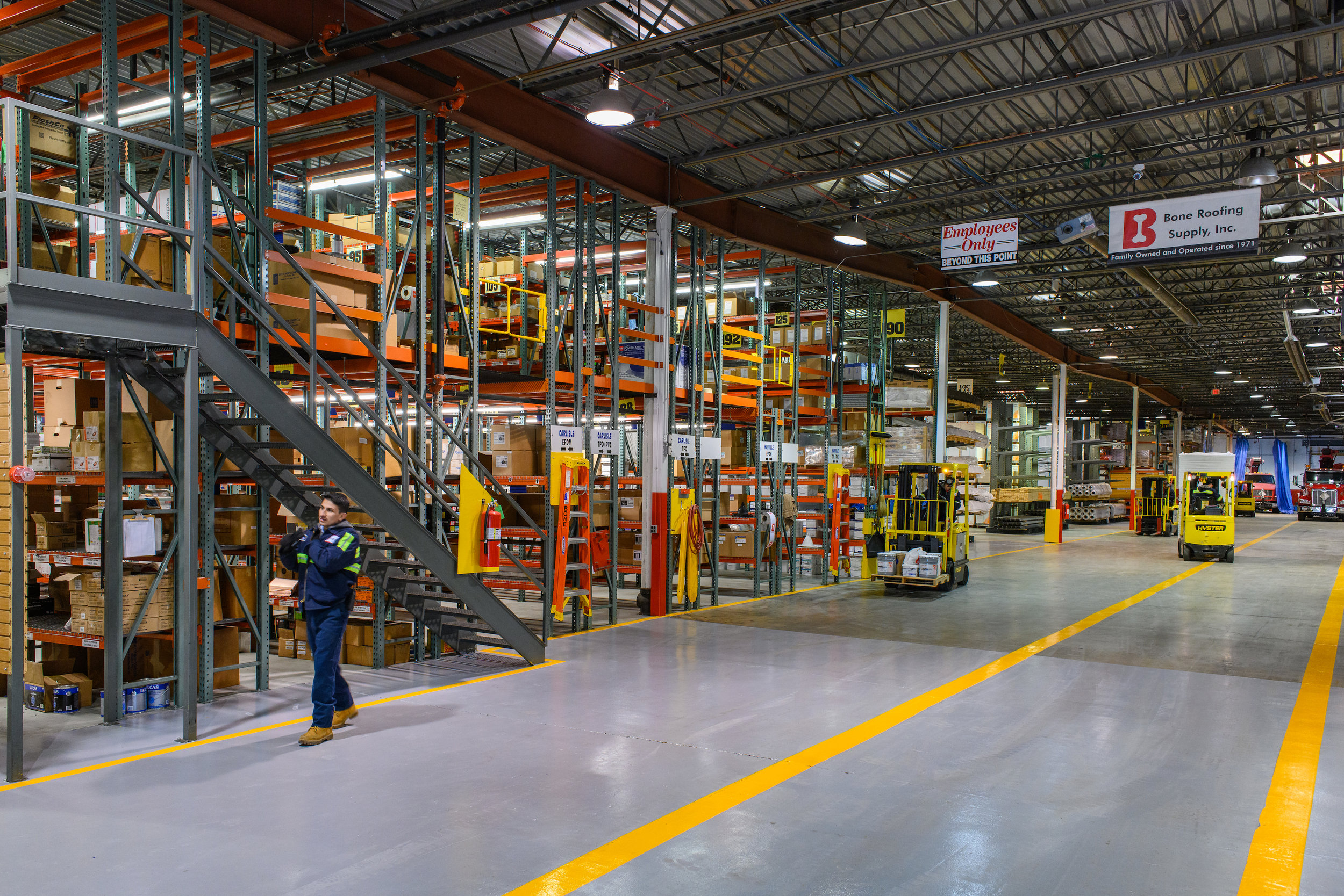 Warehouse - Opened in 2014, our new Villa Park warehouse is over 80,000 sq. feet. We stock nearly 2,000 SKUs, with plenty of special and custom order requests, as well.Our warehouse has over 600 zones, leading to an extremely organized facility that ensures our warehouse team is pulling the correct material. We invest within our warehouse by putting cleanliness and organization first and foremost.All items are labeled and in their proper places making it easy for our team to keep products easily accessible and clean from dirt and dust that other supply companies seem not to prioritize.